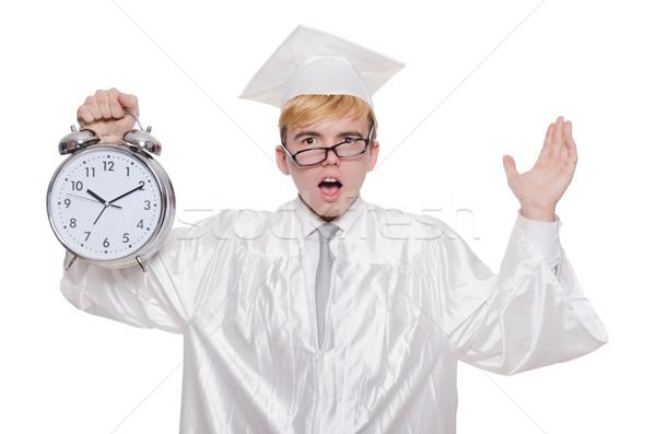 Photo stock: étudiant · manquant · horloge · blanche · éducation