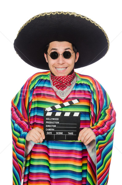 Funny mexican in poncho with clapper-board isolated on white Stock photo © Elnur