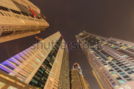 Szingapúr éjszaka üzlet égbolt naplemente fény Stock fotó © Elnur