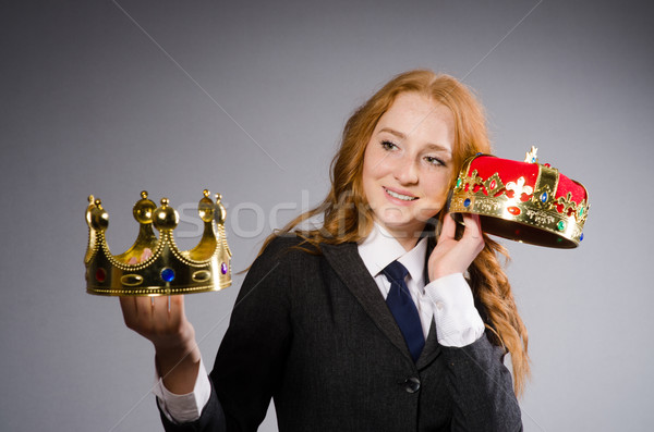 Queen businesswoman in funny concept Stock photo © Elnur