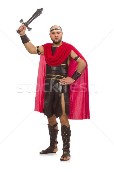 Gladiador espada aislado blanco rojo músculo Foto stock © Elnur