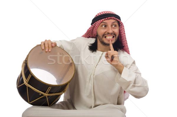 Arap adam oynama davul yalıtılmış beyaz Stok fotoğraf © Elnur
