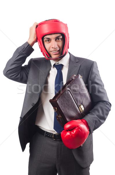 Jonge zakenman aktetas vak handschoenen geïsoleerd Stockfoto © Elnur