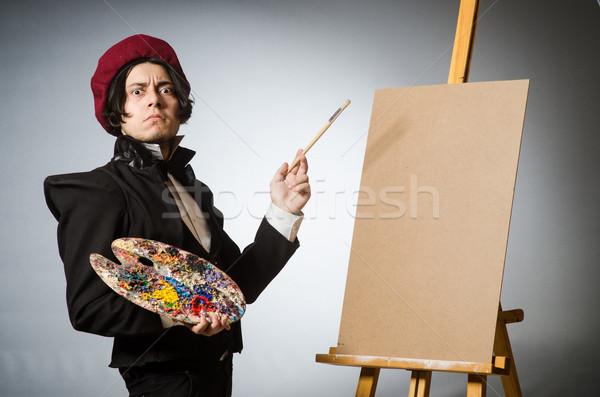 Grappig kunstenaar donkere studio werk frame Stockfoto © Elnur