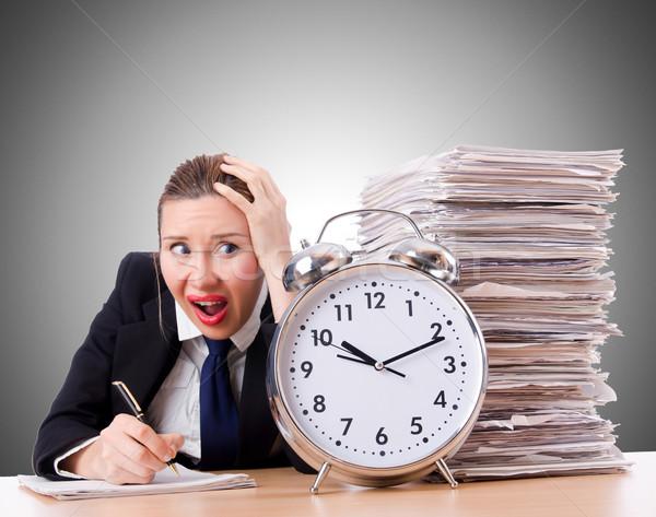 女性 女性実業家 巨人 目覚まし時計 オフィス 作業 ストックフォト © Elnur