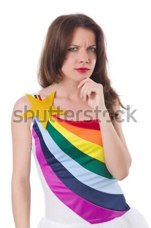 довольно девушки красочный платье изолированный белый Сток-фото © Elnur