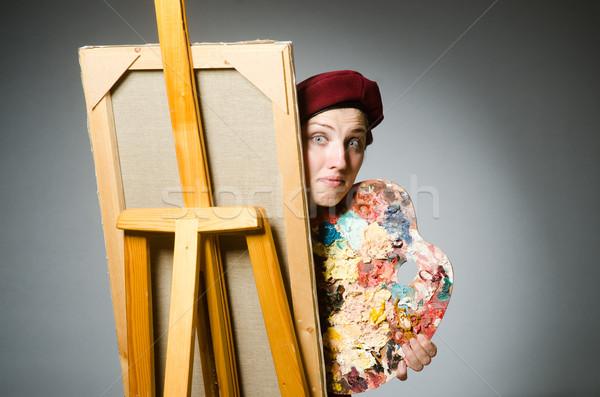Grappig kunstenaar werken studio werk student Stockfoto © Elnur
