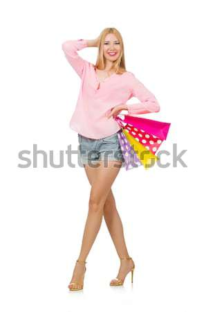 Mulher guarda-chuva isolado branco água sorrir Foto stock © Elnur