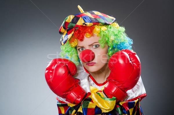 Grappig clown bokshandschoenen vak triest leuk Stockfoto © Elnur
