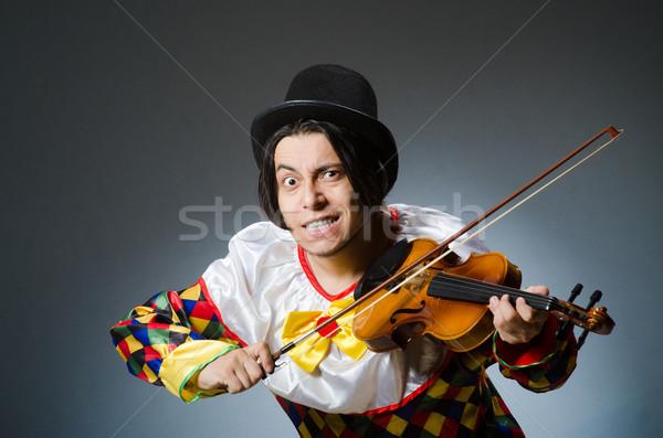 Stock fotó: Vicces · hegedű · bohóc · játékos · musical · zene