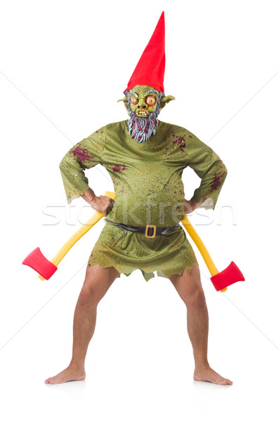 Monster man with axes isolated on white Stock photo © Elnur