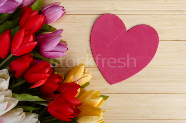 Tulips flowers arranged with copyspace for your text Stock photo © Elnur