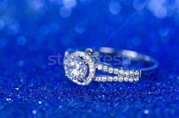 ювелирных кольца синий фон цепь Diamond Сток-фото © Elnur