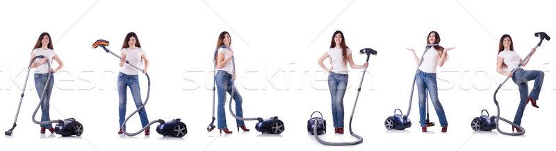 коллаж женщину очистки пылесос дома девушки Сток-фото © Elnur