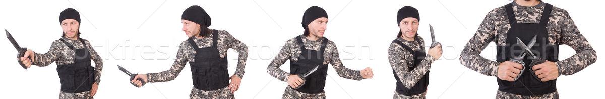 солдата ножом изолированный белый зеленый ходьбе Сток-фото © Elnur