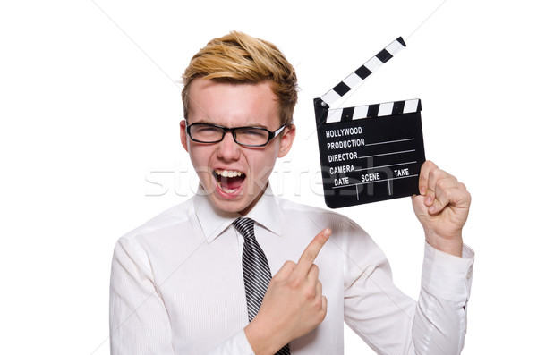 Funny man with movie board on white Stock photo © Elnur