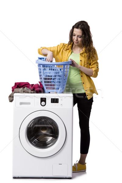 Stock fotó: Fiatal · nő · koszos · szennyes · izolált · fehér · nő