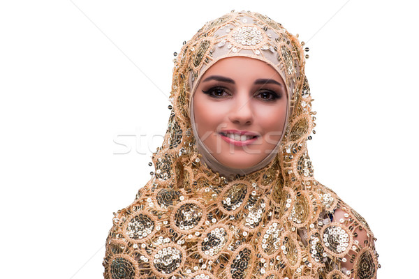 Muslim woman in gold cover isolated on white Stock photo © Elnur