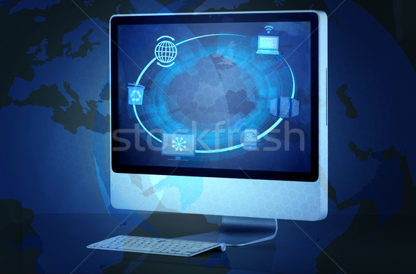 экране компьютера сеть мобильных экране связи Сток-фото © Elnur