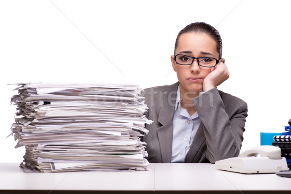 The angry woman with piles of paper on white Stock photo © Elnur