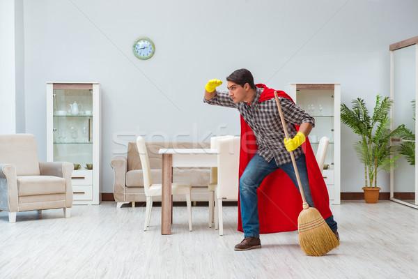 Szuperhős takarító dolgozik otthon férfi szomorú Stock fotó © Elnur