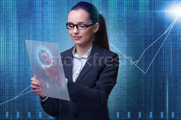 Femme d'affaires bourse commerce femme main internet Photo stock © Elnur