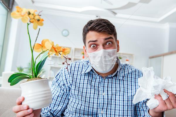 Hombre sufrimiento alergia médicos flor alimentos Foto stock © Elnur