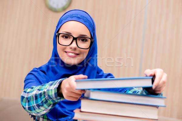 Müslüman kız sınavlar kadın kitaplar öğrenci Stok fotoğraf © Elnur