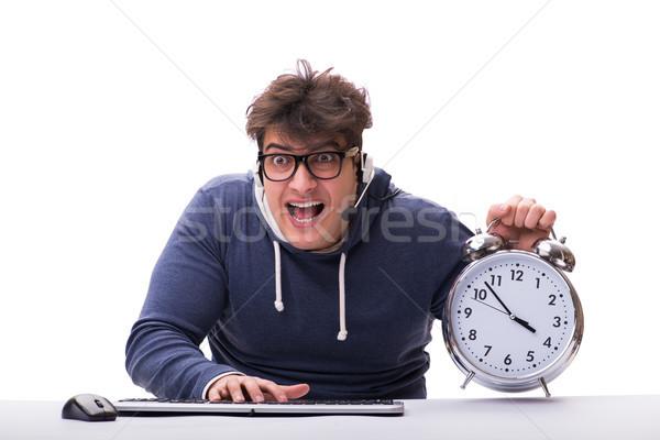 Funny nerd call center operator with giant clock Stock photo © Elnur