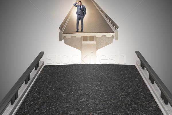 小さな ビジネスマン 不確実性 橋 ビジネス 建物 ストックフォト © Elnur