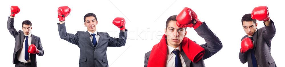бизнесмен боксерские перчатки белый бизнеса работник корпоративного Сток-фото © Elnur