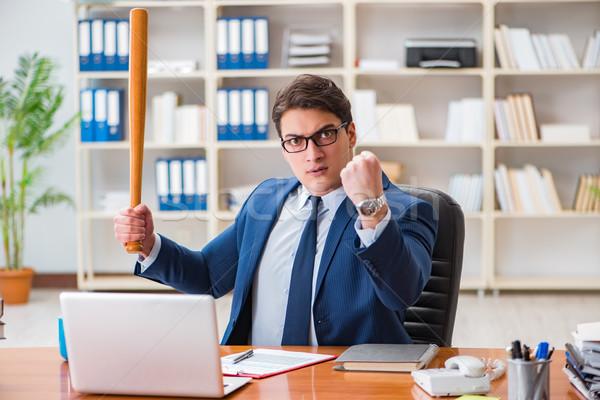 Zły agresywny biznesmen biuro człowiek pracy Zdjęcia stock © Elnur