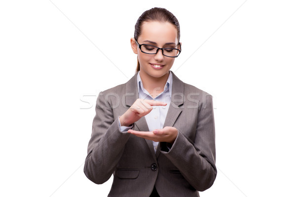 The bsuinesswoman pressing virtual buttons isolated on white Stock photo © Elnur