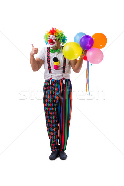 Funny clown with balloons isolated on white background Stock photo © Elnur