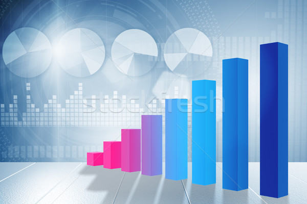 The growing bar charts in economic recovery concept - 3d rendering Stock photo © Elnur