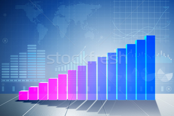 Growing bar charts in economic recovery concept - 3d rendering Stock photo © Elnur