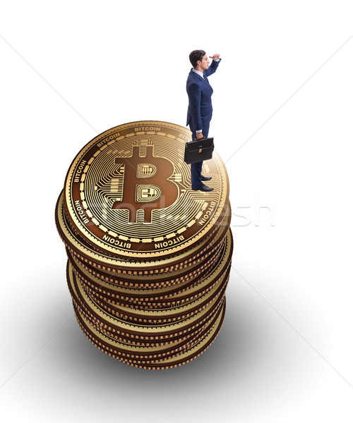 Businessman in cryptocurrency blockchain concept Stock photo © Elnur