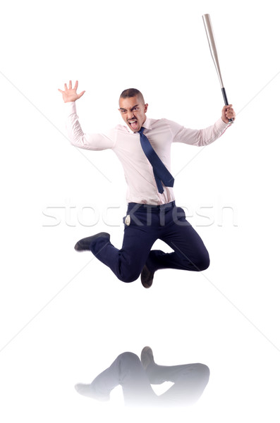 Jumping businessman with baseball bat Stock photo © Elnur