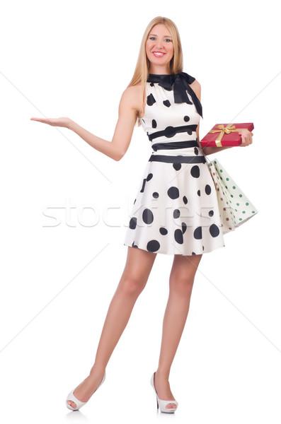 Jonge vrouw christmas winkelen witte vrouw gelukkig Stockfoto © Elnur