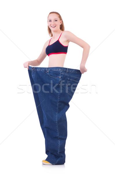 Stock fotó: Nő · nagy · farmer · diétázás · lány · boldog