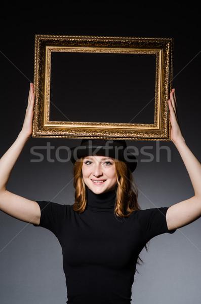 Stockfoto: Fotolijstje · donkere · meisje · hout · mode