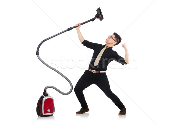 Man with vacuum cleaner isolated on white Stock photo © Elnur