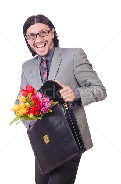 человека цветы изолированный белый фон Сток-фото © Elnur