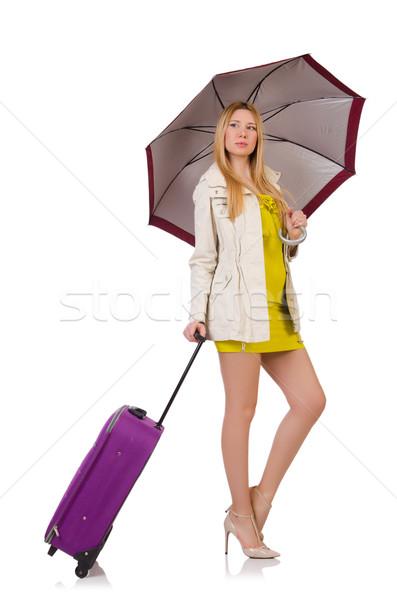 Zdjęcia stock: Kobieta · walizkę · parasol · odizolowany · biały · dziewczyna