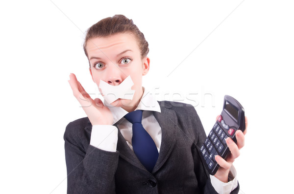Stock photo: Woman with calculator in fraud concept isolated on white