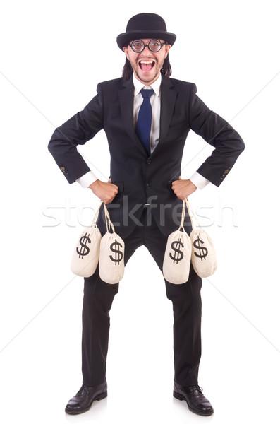 Man with sacks of money isolated on white Stock photo © Elnur