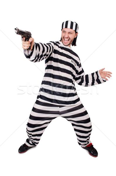Gevangenis bewoner pistool geïsoleerd witte hand Stockfoto © Elnur