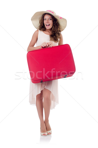Woman with luggage isolated on white Stock photo © Elnur