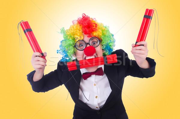üzletember bohóc izolált fehér mosoly arc Stock fotó © Elnur