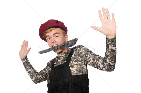 Vicces katona katonaság izolált fehér férfi Stock fotó © Elnur